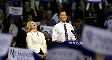 Mitt Romney med sin fru Ann Romney. Foto: David Goldman/Scanpix.