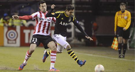 AIK vann överraskande mot storlaget PSV Eindhoven från Holland. Foto: Jessica Gow/Scanpix.