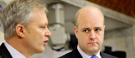 Förre försvarsministern Sten Tolgfors tillsammans med statsminister Fredrik Reinfeldt. Foto: Tomas Oneborg/Scanpix.
