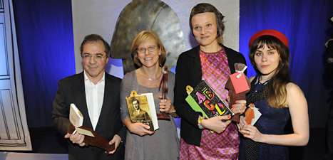 Vinnarna av Augustpriset: Göran Rosenberg, Ingrid Carlberg, Nina Ulmaja och Ulrika Nettelblad. Foto: Erik Mårtensson/Scanpix