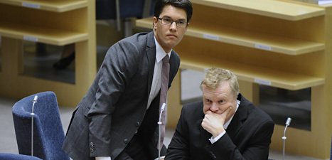 Sverigedemokraten Lars Isovaara tillsammans med partiledaren Jimmie Åkesson. Foto: Claudio Bresciani/Scanpix.