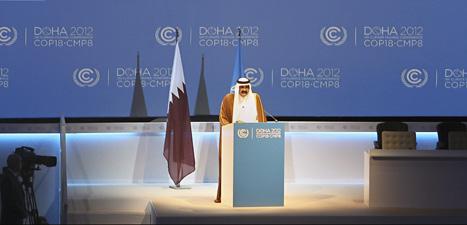 Emiren Hamad bin Al-Thai talar på klimatmötet i Qatar. Foto:Osama Faisal/Scanpix.