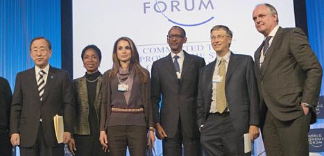 Här är några av dem som är med på toppmötet i Davos. Foto: Michel Euler/Scanpix.