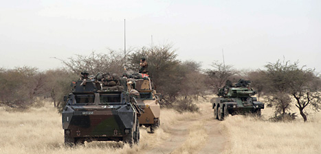 Franska soldater tvingar rebellerna i Mali att fly allt längre norrut. Foto: Arnaud Rione/Scanpix.