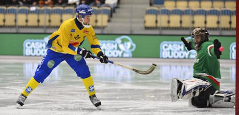 Sverige krossade Vitryssland i bandy-VM. Foto: Anders Wiklund/Scanpix.