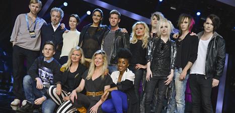 Några av artisterna i årets Melodifestival. Foto: Claudio Bresciani/Scanpix.