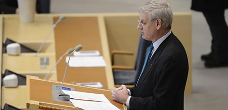 Carl Bildt berättar vad Sverige har för utrikespolitik. Foto: Leif R Jansson/Scanpix