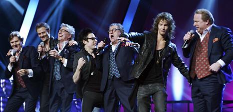 Ravaillacz och State of Drama gick vidare till final i Melodifestivalen. Foto: Janerik Henriksson/Scanpix.