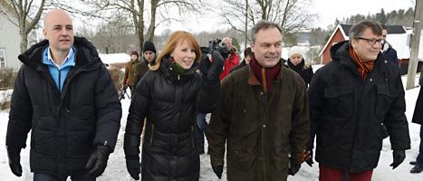 De fyra partiledarna träffades i Maramö i Småland.Foto: Henrik Montgomery/Scanpix.