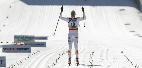 Johan Olsson blev hela Sveriges hjälte i söndags. Han vann femmilen i skid-VM efter ett riktigt bragdlopp. Foto: Lise Åserud/Scanpix.