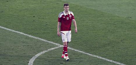 Nicklas Bendtner spelar i danska fotbollslandslaget och i den italienska klubben Juventus. Foto: Michel Probst/Scanpix.