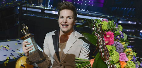 Robin Stjernberg ska sjunga för Sverihe i finalen i ESC i Malmö i maj. Foto: Claudio Bresciani/Scanpix.