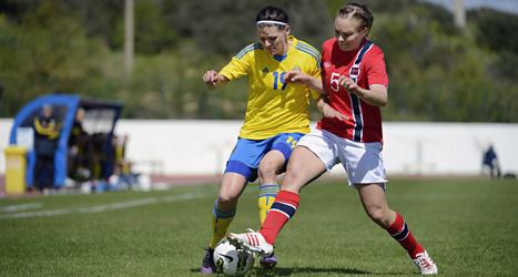 Sverige fick stryk av Norge i matchen om tredjeplatsen i Algarve Cup. Foto. Jessica Gow/Scanpix.