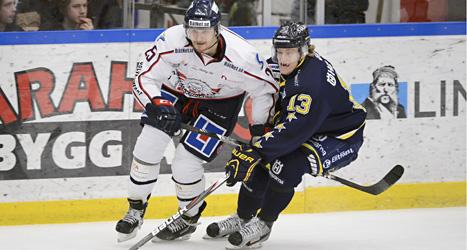 Hård kamp om pucken i matchen mellan HV 71 och Linköping. Foto: Mikael Fritzon/Scanpix.