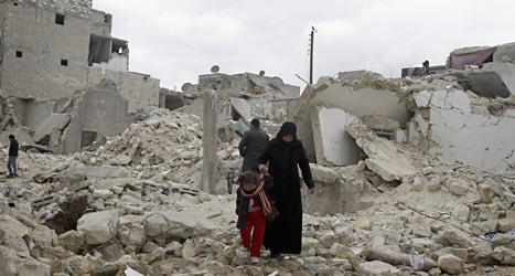 Sönderskjutna hus i staden Aleppo i Syrien. Foto:Ehran Sevenler/Scanpix.
