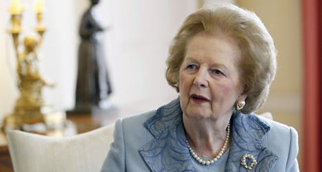Margaret Thatcher dog i en hjärnblödning på måndagen. Foto: Suzanne Plunkett/Scanpix.