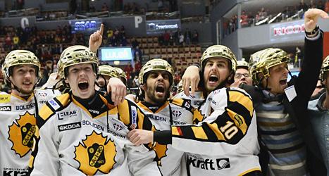 Skellefteås spelare firar SM-guldet i ishockey. Foto: Claudio Bresciani/Scanpix.