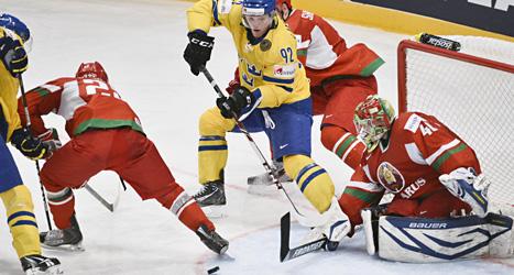 Tre Kronor vann måndagens match mot Vitryssland med 2-1. Foto: Fredrik Sandberg/Scanpix.