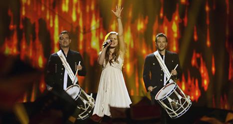 Emmelie de Forest från Danmark sjunger i melodifestivalen ESC.Foto: Alistair Grant/Scanpix.