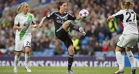 Lotta Schelin lyckades inte göra mål i finalen i Champions League. Foto: Matt Dunham/Scanpix.