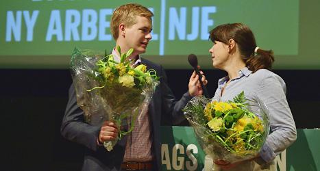 Miljöpartiets språkrör Gustav Fridolin och Åsa Romson. Foto: Henrik Montgomery/Scanpix.