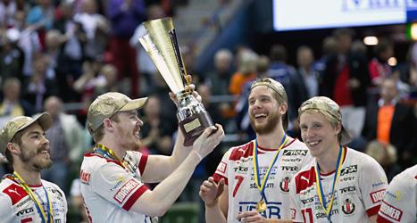 Magnus Persson och Drott jublar över SM-guldet i handboll. Foto: Björn Larsson Rosvall/Scanpix