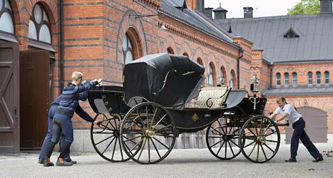 Den här vagnen ska bröllopsparet åka i. Foto.Anders Wiklund/Scanpix.