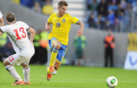 Alexander Kacaniklic gjorde målet när Sverige vann mot Makedonien. Foto: Björn Lindgren/Scanpix.