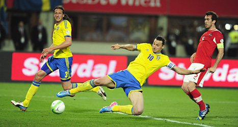 Zlatan gjorde inget mål i helgens kvalmatch mot Österrike. Foto: Björn Lindgren/Scanpix.