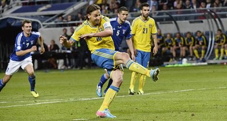 Zlatan gjorde båda målen mot Färöarna. Foto: Leif R Jansson/Scanpix.