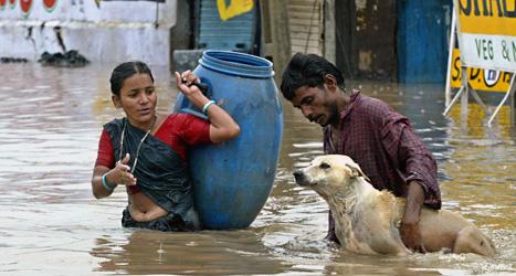 Fler än tusen människor kan ha dött i översvämningarna i Indien. Foto: Ajit Solanki/Scanpix.