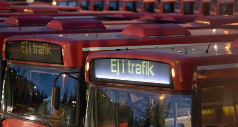 Efter lite mer än en veckas strejk ska bussarna börja åka som vanligt igen. Foto: Johan Nilsson/Scanpix