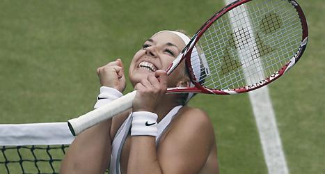 Sabine Lisicki från Tyskland har överraskat i tennistävlingen Wimbledon.  Foto: Anja Niedringhaus/Scanpix.