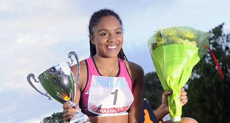 Irene Ekelund efter segern på 200 meter i Karlstad. Foto: Erik Mårtensson/Scanpix