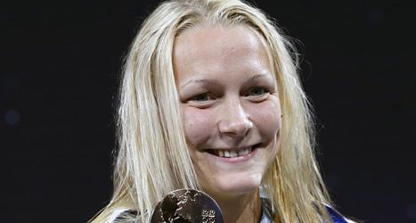 Sarah Sjöström vann VM guld på 100 meter fjärilsim. Foto: Michael Sohn/Scanpix.