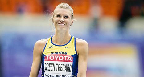 Emma Green Tregaro tävlade i höjdhopp i VM i Moskva. Foto: Erik Mårtensson/Scanpix.