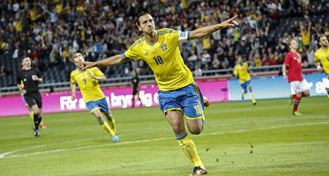 Efter två minuter gjorde Zlatan mål i matchen mot Norge. Foto: Christine Olsson /Scanpix.