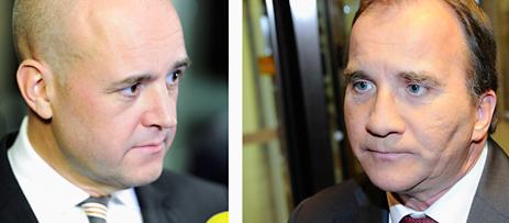 Statsminister Fredrik Reinfeldt och Socialdemokraternas ledare Stefan Löfven möttes i en debatt i tv på måndagen. Foto: Erik Mårtensson/Scanpix.
