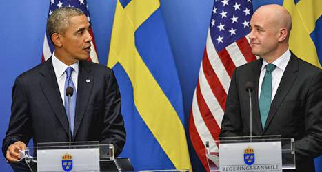Barack Obama och Fredrik Reinfeldt möttes på statsministerns kontor i Stockholm. Foto: Scanpix