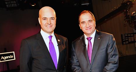 Moderaternas ledare Fredrik Reinfeldt och Socialdemokraternas ledare Stefan Löfven var huvudmotståndarna i tv-debatten i söndags. Foto: Jonas Ekströmer/TT.