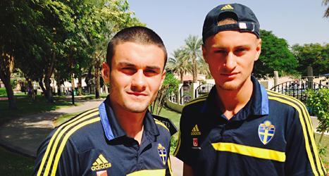 Valmir Berisha och Gentrit Citaku är två av spelarna i Sveriges lag  i VM för ungdomar. Foto: Linus Lindahl/TT.