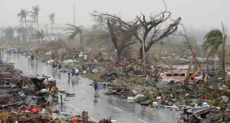 Staden Tacloban förstördes helt av ovädret Haiyan. Foto: Bullit Marquez/TT.