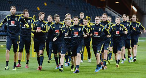 Sverige tränar inför matchen mot Portugal. Foto: Claudio Bresciani/TT