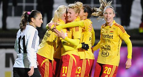 Tyresö ska möta ett lag från Österrike i kvartsfinalen i Champions League i fotboll. Foto: Erik Mårtensson/TT.