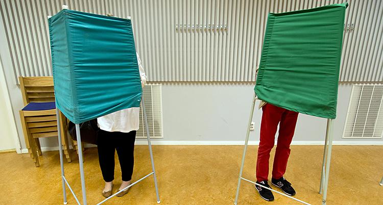 Två människor bakom gröna skärmar.