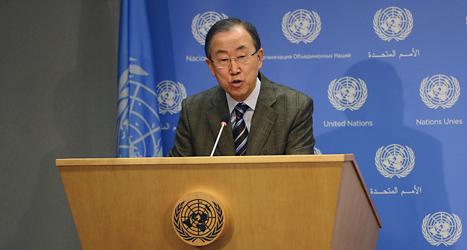 Ban Ki- Moon är chef för Förenta Nationerna, FN. Foto: Emmanuel Dunand/TT.