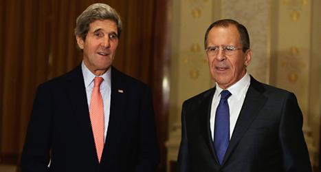 USAs utrikesminister John Kerry och Rysslands utrikesminister Sergej Lavrov är med på fredsmötet om Syrien. Foto: Gary Cameron/TT.