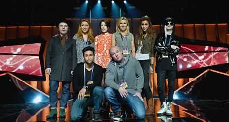 Alla artisterna i den första deltävlingen. Foto: Henrik Montgomery /TT