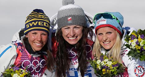 Vinnarna i loppet: Charlotte Kalla, Justina Kowalczyk och Therese Johaug. Foto: TT