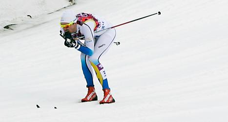 Johan Olsson tog silver i sitt första lopp efter skadan. Foto: Matthias Schrader /TT